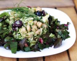 Raw Mediterranean Squash & Greens Salad